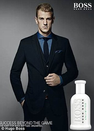 Footballer turned model: Joe, who describes his personal style as 'comfy, fresh, sharp and tidy' is the face of Boss Bottled Unlimited and looks dapper in the campaign imagery