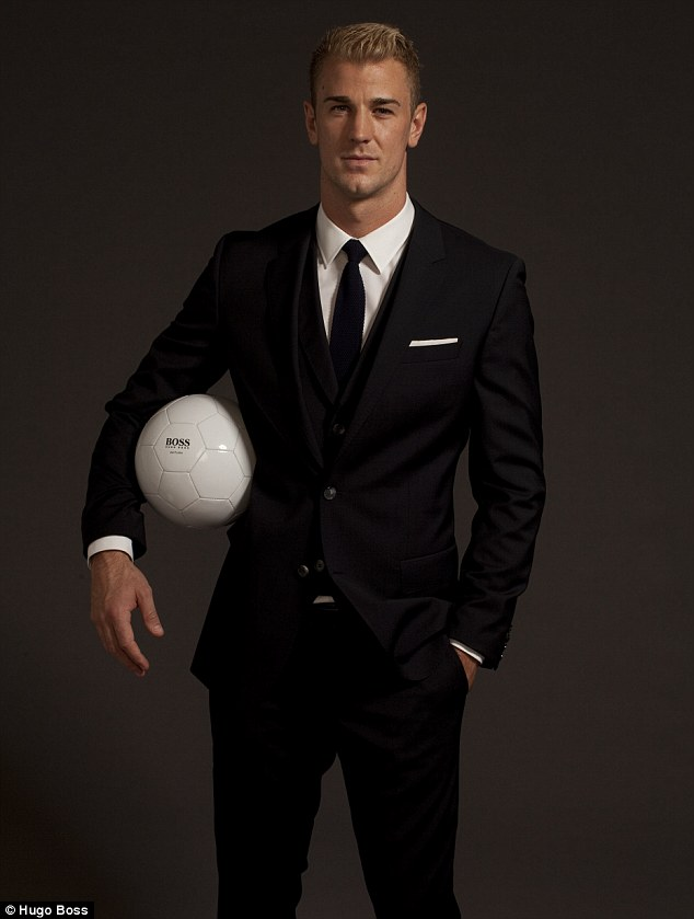 New face: England goalkeeper Joe Hart, who has become something of a heartthrob on the pitch, has been unveiled as the face of Hugo Boss' new fragrance