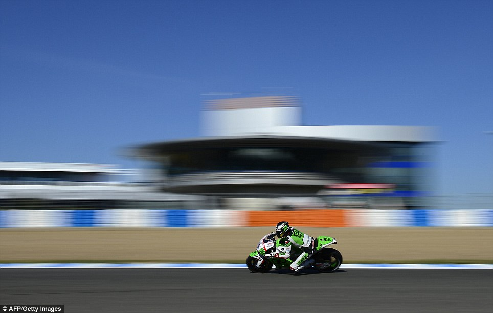 Speed: Honda Gresini's British rider Scott Redding takes part in the first MotoGP free practice session of the Spanish Grand Prix at the Jerez racetrack in Jerez de la Frontera