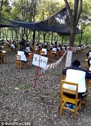 And not only did it allow the students to take their exams with a cool breeze on their backs but also made it harder to cheat, headmaster Luk Chien claimed.
