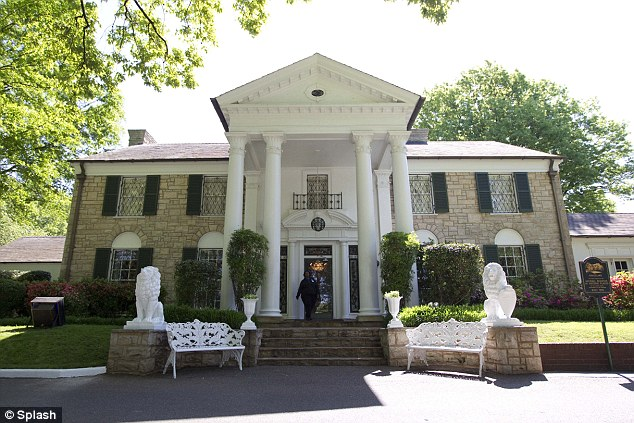 Elvis Presley's Graceland mansion in Memphis, Tennessee, which served as his family home throughout most of his adult life. The house includes a bright yellow TV room, in which Presley used to watch three televisions simultaneously