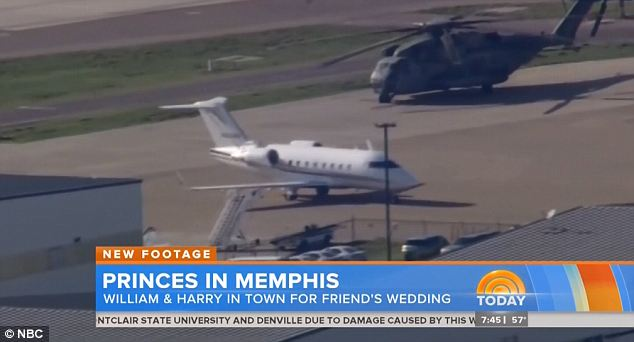 Rock star treatment: The princes' visit has been breathlessly covered by media, with helicopters filming the private jet Harry arrived in as it landed in Memphis Thursday afternoon