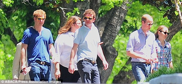 Prince Harry, wearing his Elvis glasses and Prince William visited Elvis Presley's Graceland mansion Friday as part of a day out with Guy Pelly's wedding guests