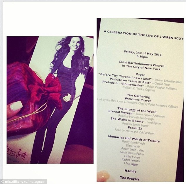 Remembering L'Wren: The program of tonight's memorial service for L'Wren Scott, who died March 17