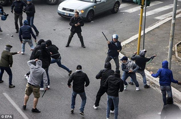 Violence: Napoli fans clash with police ahead of the Coppa Italia final