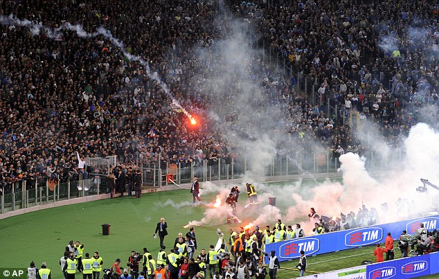 Flares: Napoli fans throw flares ahead of kick off