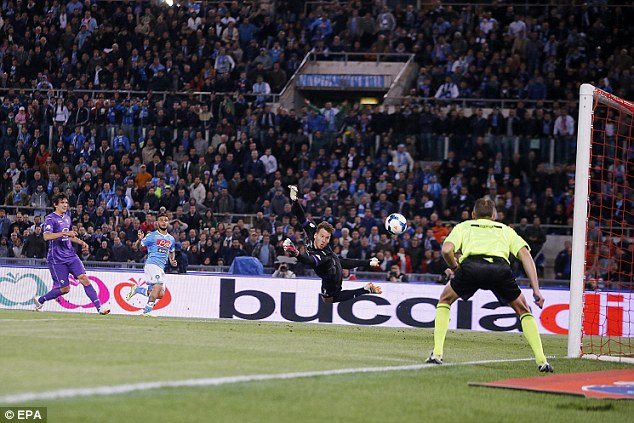 Goalden: Lorenzo Insigne scores a goal during the Italy Cup final