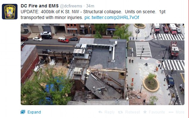 Tweeted update from the DC Fire and EMS. K9 units searched the area Friday night for any other injured people in the rubble