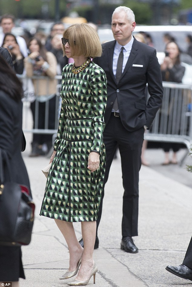 Fashion's great and good: Anna Wintour, editor-in-chief of Vogue magazine, arrives at St. Bartholomew's Church for the memorial service for fashion designer L'Wren Scott