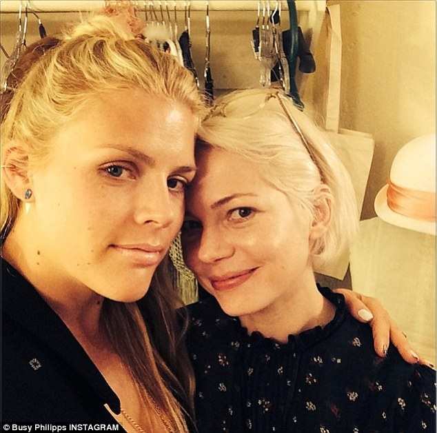 So proud: Busy Philipps gave her BFF Michelle Williams a congratulatory hug following Michelle's star turn as Sally Bowles in the Broadway revival of Cabaret on Friday
