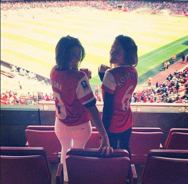 Out to support: Bacary Sagna's wife Ludivine and Laurent Koscielny's wife Claire were at the Emirates on Sunday