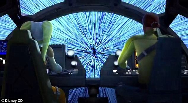 Action packed: The teaser is filled with flashes of seems from the anticipated programme set to music many Star Wars fans are familiar with