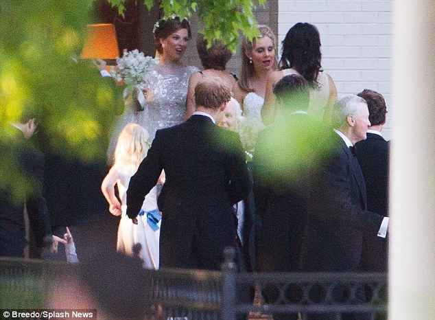 Beautiful bride: Lizzy Pelly, nee Wilson, was wearing a gorgeous sparkly white dress