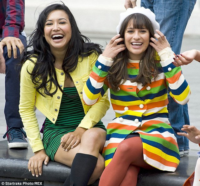 Former friends: Naya and Lea in happier times on the set of Glee