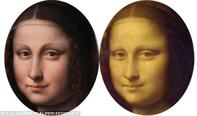 Study: The researchers used a red-cyan anaglyph to combine the two paintings of the Mona Lisa (pictured)
