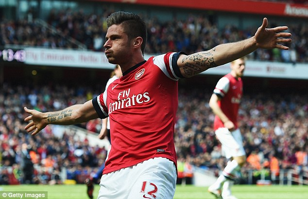 Difference: Olivier Giroud netted the only goal of Arsenal's last home game of the season