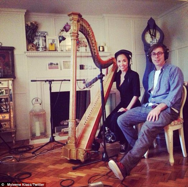 Musically gifted: Myleene posted a picture of herself playing the harp to her Twitter account, captioning it: 'Recording with @FelixJaxxx #basementjaxx #awesome'