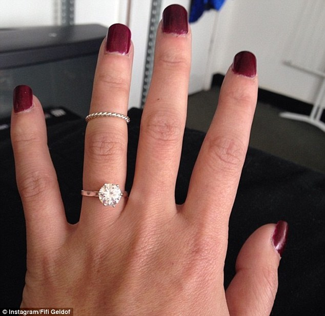 The ring: The 31-year-old PR executive uploaded a snap of her sparkly engagement ring to Instagram