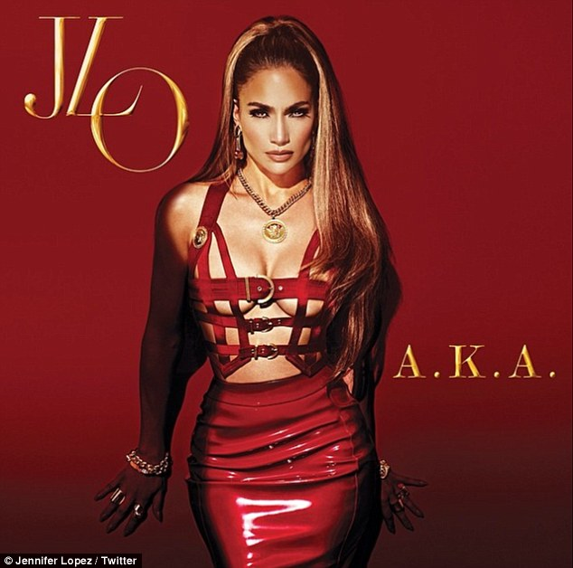 Sultry pose: Jennifer Lopez's impressive cleavage takes centre stage on the cover of her tenth studio album, A.K.A.