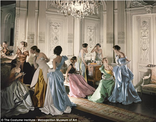 James's work was a favorite among mid-century American socialites, and is best recalled through this Cecil Beaton photograph, which captures the designer's creations and muses as if they were part of the Eighteenth century French court