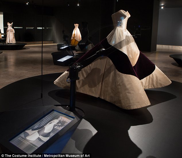 The first of the exhibit's two galleries use pattern and X-ray animations to give visitors a more in-depth look at the gown's intricate construction