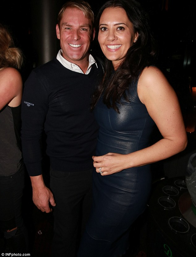 Party boy: Over the weekend Shane was hanging out with Melbourne Housewife Lydia Schiavello