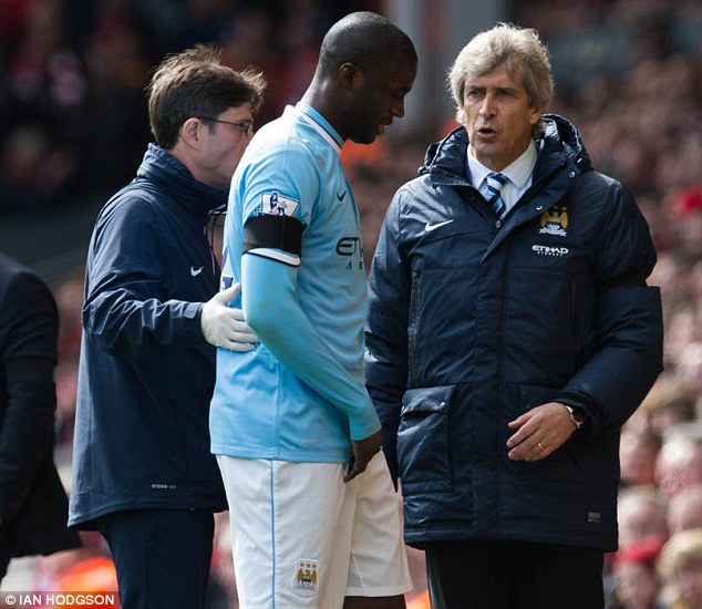 Worry: Toure limped away against Liverpool last month and was taken off again at Everton on Saturday