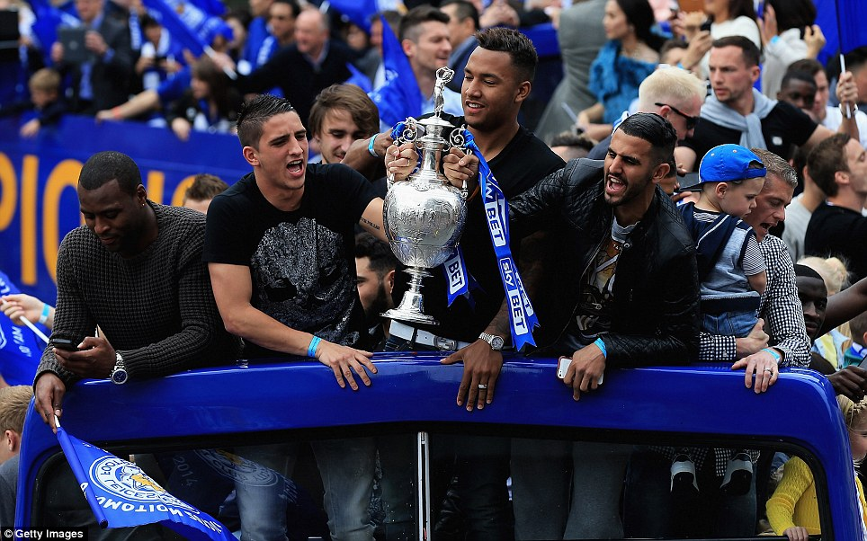 Sharing the glory: (From left) Morgan, Anthony Knockaert, Luke Moore and Riyad Mahrez soak in the love from the Blue Army