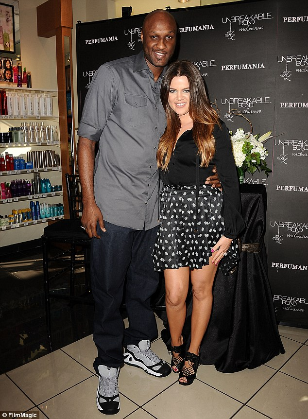 The way they were: The couple split late last year following months of turbulence in the wake of cheating and drug use allegations, with the 29-year-old reluctantly calling time on their marriage in December, while Lamar dodges her calls and texts as he reportedly hopes for a reconciliation