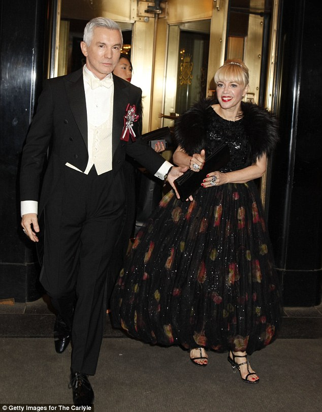 Hollywood elegance: Baz donned a three-piece tuxedo while Catherine glowed in a floor-length floral gown