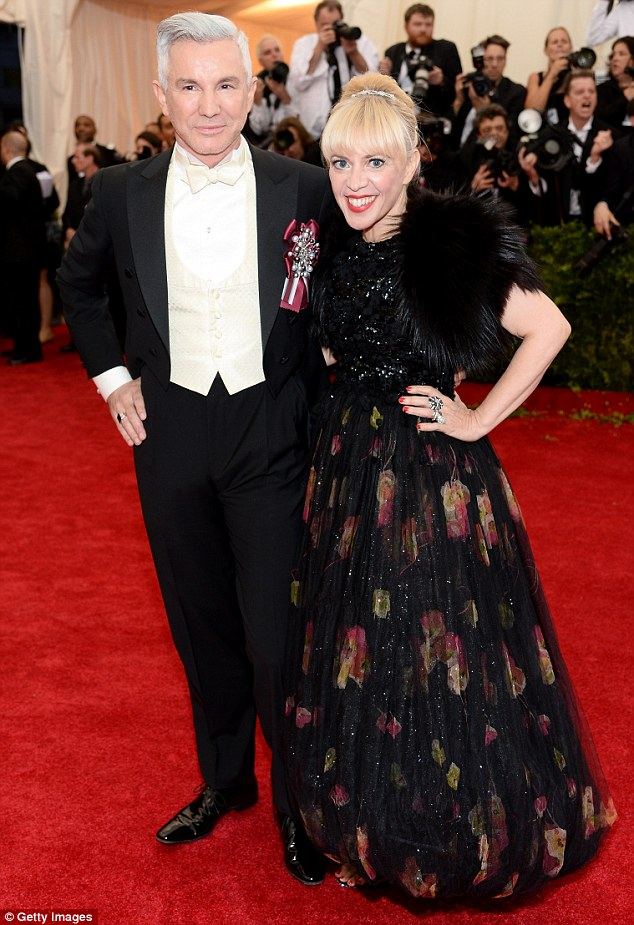 White tie: Film director Baz Luhrmann and set designer wife Catherine Martin looked classic on the red carpet at the Met Ball on Monday night