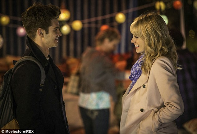 Hit movie: Emma is shown portraying Gwen Stacy alongside Andrew Garfield as Peter Park in a still from The Amazing Spider-Man 2