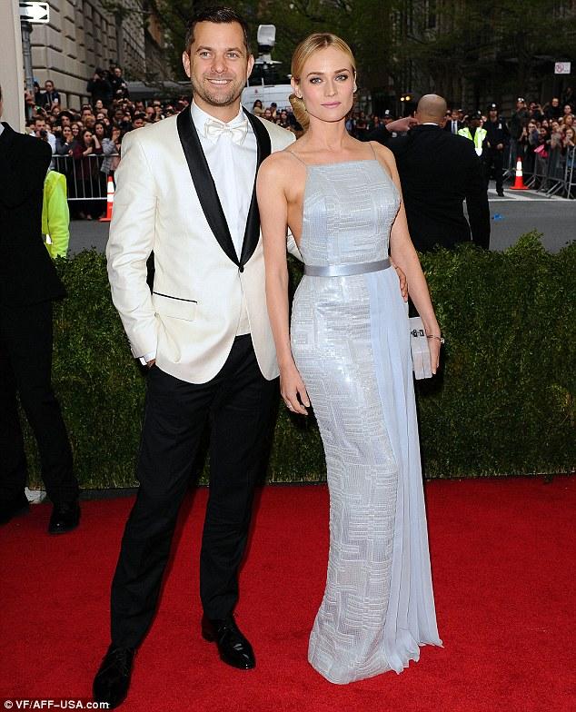 Pretty in pastels: Diane Kruger glowed next to longtime partner Joshua Jackson in shimmering blue frock