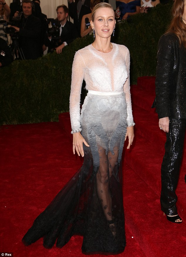 High Watt-age: Naomi Watts brings the drama in a couture gown at the 2014 Met Gala in New York on Monday