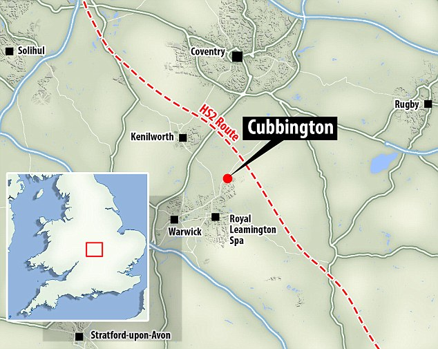 Nearby: The 200-year-old Cubbington pear tree is close to the proposed HS2 route (pictured). Villagers are hoping for a tunnel to be built beneath to tree and the surrounding woodland