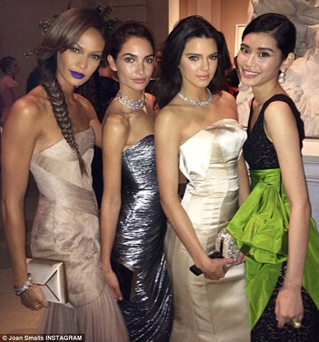 Model gals: Joan posted this Instagram of herself posing with Lily Aldridge, Kendall Jenner and Ming Xi and captioned it, 'Amazing time with these beauties at the #MetGala