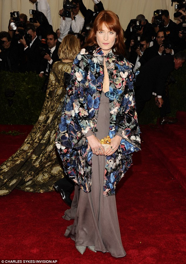 No smiles allowed: Florence let her outfit speak for itself as she graced the red carpet