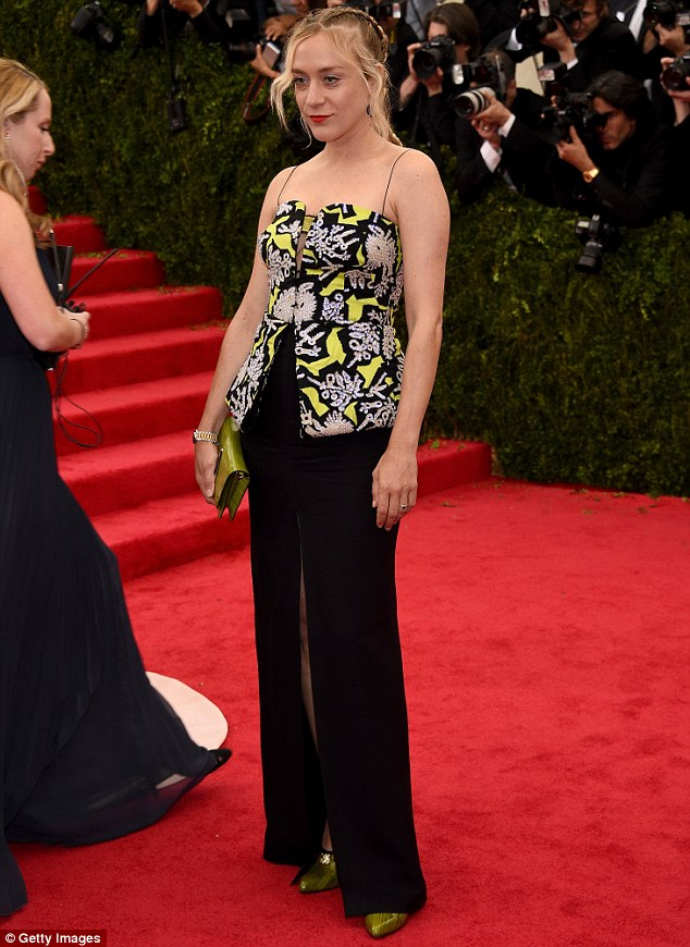 Later that evening, Chloe strutted her stuff on the red carpet at the Met Gala looking as stylish as ever at the Metropolitan Museum of Art in New York in a bright yellow and dark blue patterned Kenzo top