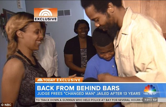 Emotional: Once he returned to the family home on Monday, that was the first time he had seen his four children in over 10 months because he wouldn't allow them to visit while he was in jail