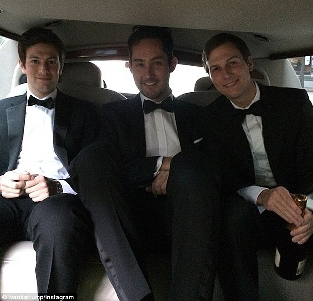 Friends in high places: Ivanka was driven to the event with husband Jared Kushner (right), his brother Joshua (left) and Kevin Systrom, the co-founder of Instagram (middle)