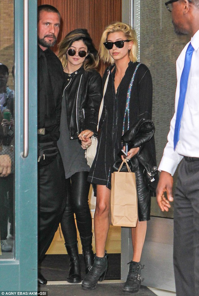 Best Fashion Friends: BFFs Kylie and Hailey mirrored each other's looks in dark clothing and black booties