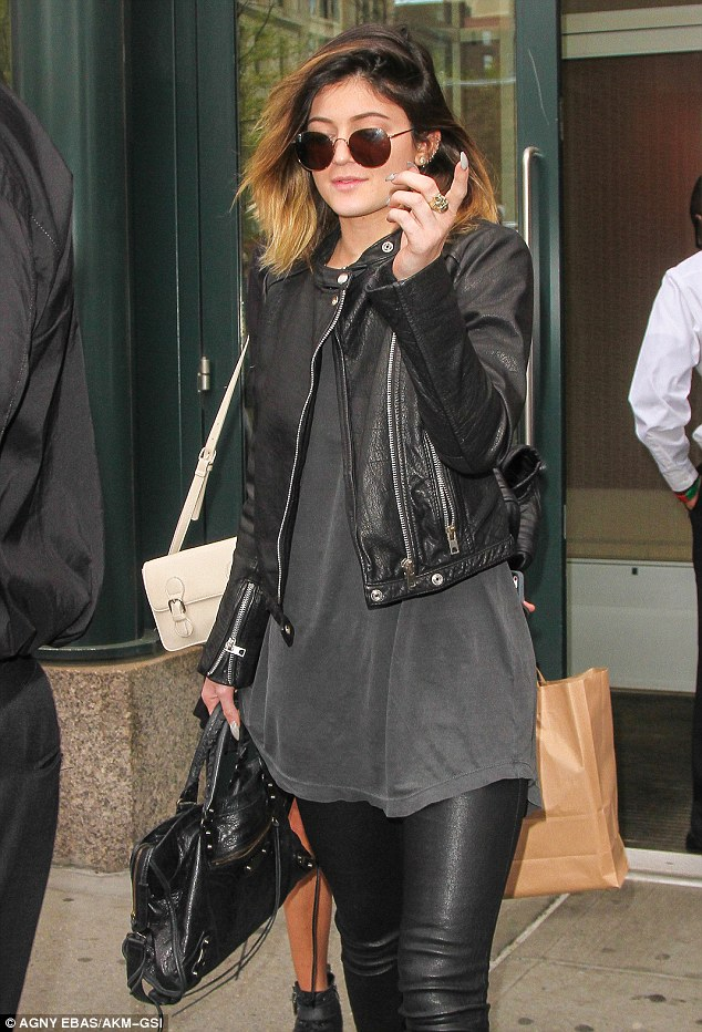Loves her leather: The 16-year-old was sporting an edgy, punk-rock look in leather trousers and jacket