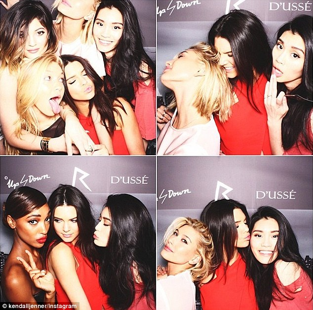 'Last night': Kendall shared a fun snapshot of her and Kylie and friends at the Met Gala after-party