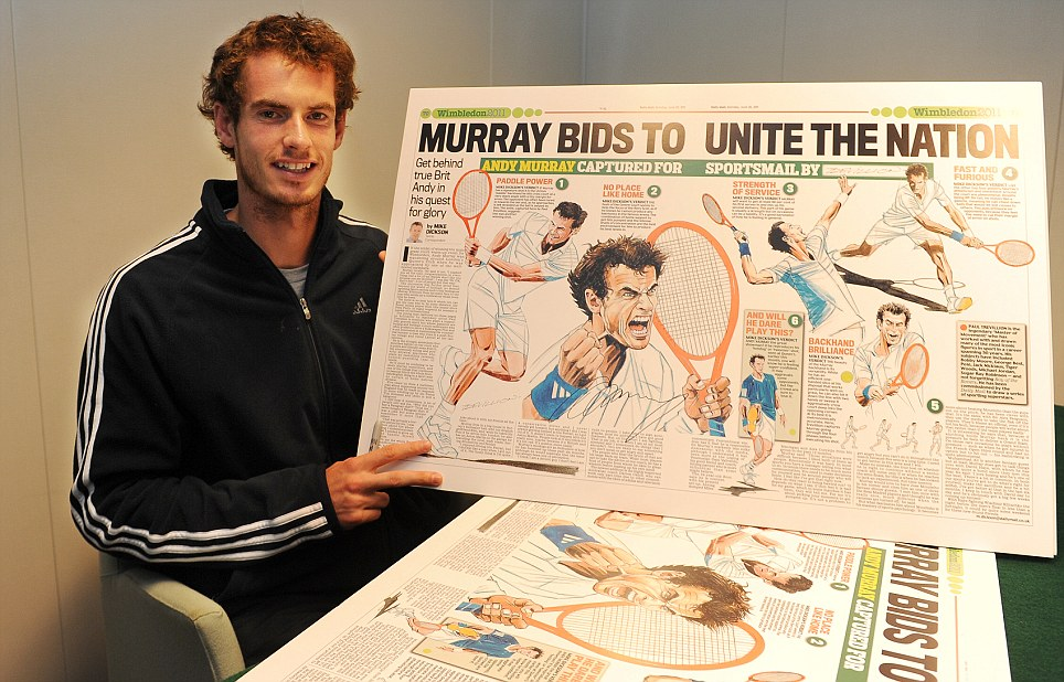 Favourite subject: Wimbledon champion Andy Murray inspects the specially commission Sportsmail spreads featuring Trevillion's stunning drawings in 2011