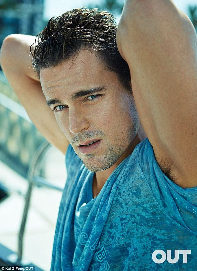 Studly: The actor, 36, showed off his ripped arms and bright blue eyes for the magazine shoot