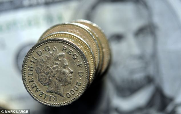 Pound: Sterling stormed to $1.69 at one point a level not seen since August 2009 after official figures showed the US economy grew at an annual rate of 0.1 per cent in the first three months of the year