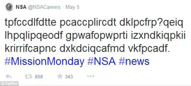 Coded message: The NSA tweeted this phrase on Monday and it has since been cracked using an internet codebreaker