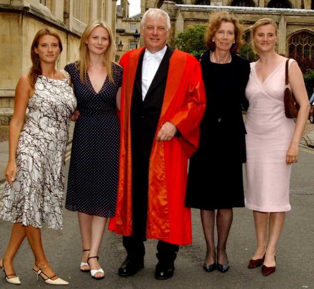 Lord Patten, former Chairman of the BBC and Chancellor of Oxford University, outside the University with his wife Lavender (second right) and daughters Laura, Alice and Kate