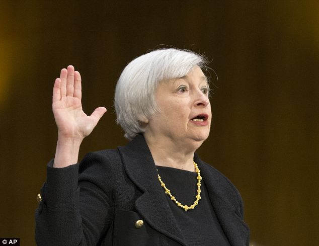 Cautious comment: Investors were spooked after Janet Yellen said one risk for the US economy is that 'the slowdown in the housing sector could be more protracted than expected.'