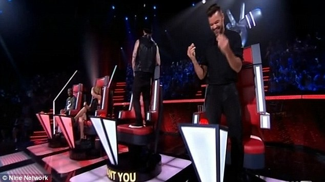 Down: A disappointed Joel turned his back to the stage while Ricky revelled in his victory